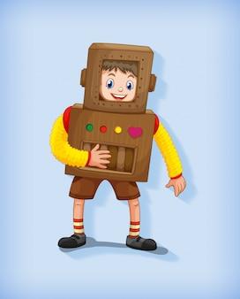 Leuke jongen die robotkostuum in bevindende positie draagt