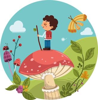 Leuke jongen die zich op een grote paddestoel in een fantasieatmosfeer bevindt vectorillustratie