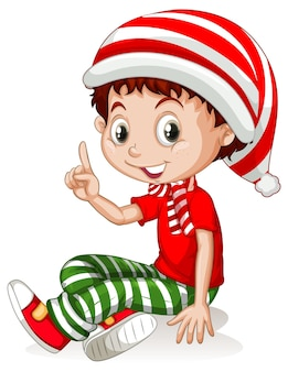 Leuke jongen draagt kerst kostuums stripfiguur