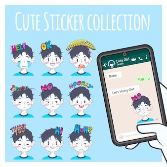 Leuke jongen emoji sticker collectie