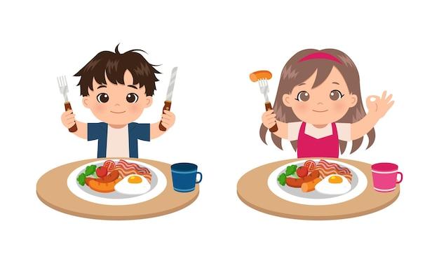 Leuke jongen en meisje die ontbijt met hand eten die goed gebaar tonen. vlak