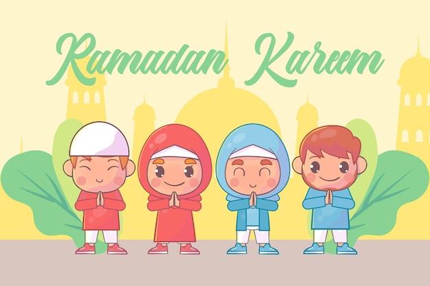 Leuke jongen en meisje die ramadan kareem islamitisch begroeten