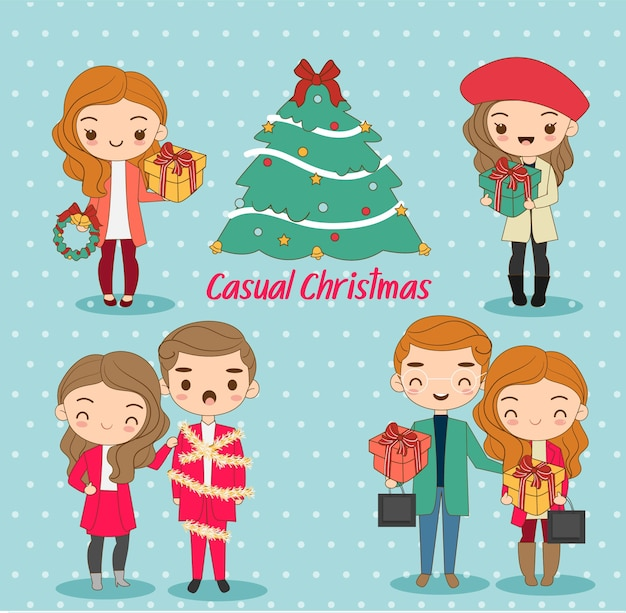 Leuke jongen en meisje in casual kleding voor kerstvakantie