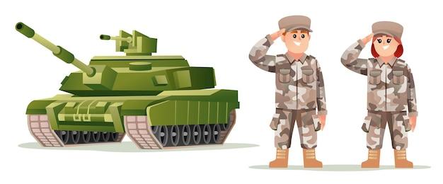 Leuke jongen en meisje leger soldaat karakters met tank cartoon afbeelding