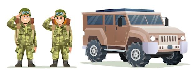 Leuke jongen en meisje leger soldaat met rugzak karakters met militair voertuig
