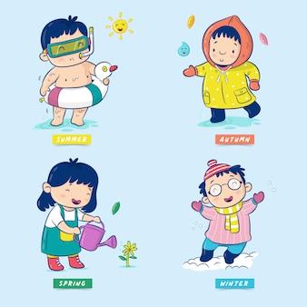 Leuke jongen en meisje op vier seizoenen. vector illustratie. geïsoleerd op blauwe achtergrond. stel