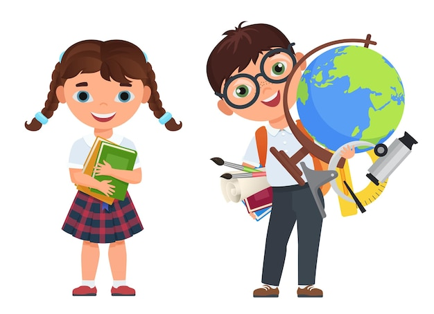 Leuke jongen en meisjeskinderen, terug naar geïsoleerd schoolconcept