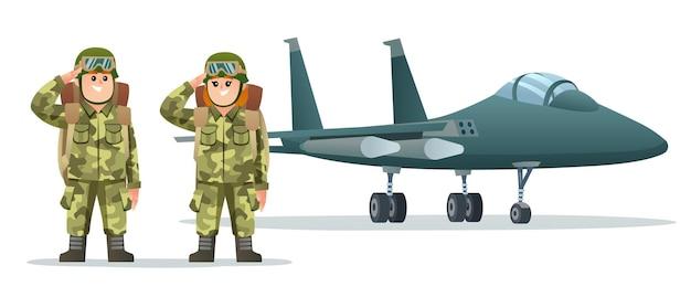 Leuke jongen en meisjesleger die rugzakkarakters dragen met militaire straalvliegtuigillustratie