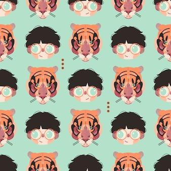 Leuke jongen en tijgergezichten in een naadloos patroon.
