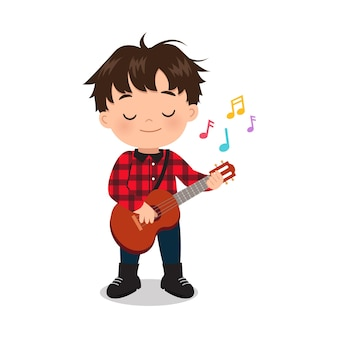 Leuke jongen gitaar spelen instrument muzikale illustraties platte vector cartoon design