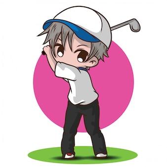 Leuke jongen golf stripfiguur