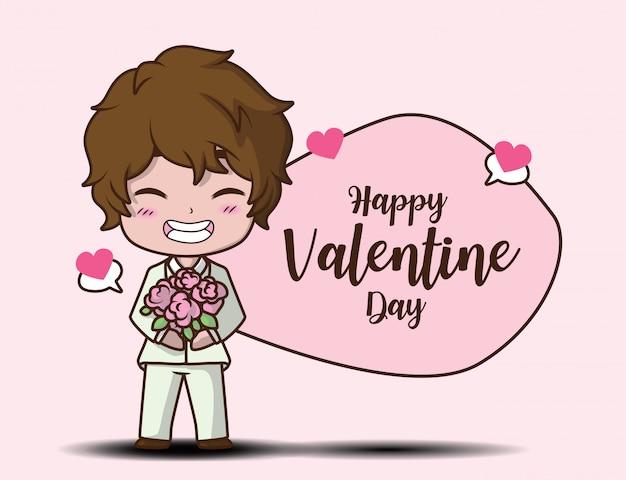 Leuke jongen holding roos en bericht happy valentine dag