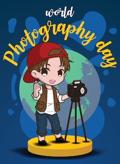 Leuke jongen in fotografiekostuum., de dagconcept van de wereldfotografie.