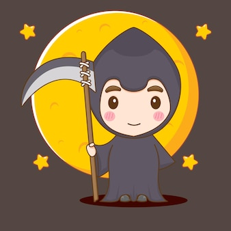 Leuke jongen in grim reaper kostuum chibi karakter illustratie