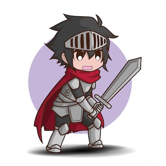 Leuke jongen in ridder kostuum cartoon