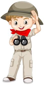 Leuke jongen in safariuitrusting op wit