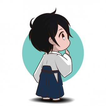 Leuke jongen in yukata-kostuum., yukaya is de nationale jurk van japan.