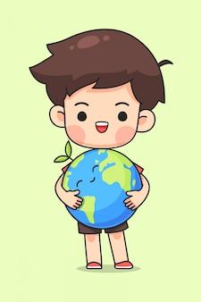 Leuke jongen knuffel de aarde