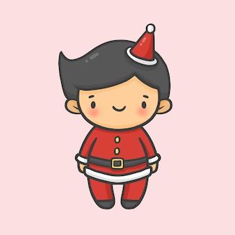 Leuke jongen kostuum santa christmas hand getrokken cartoon stijl vector