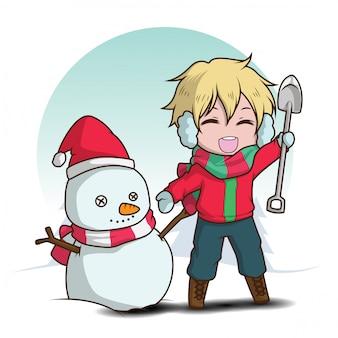 Leuke jongen maakt een sneeuwpop., kerstmis.