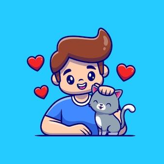 Leuke jongen met kattenbeeldverhaal. mensen dier pictogram concept geïsoleerd. flat cartoon stijl