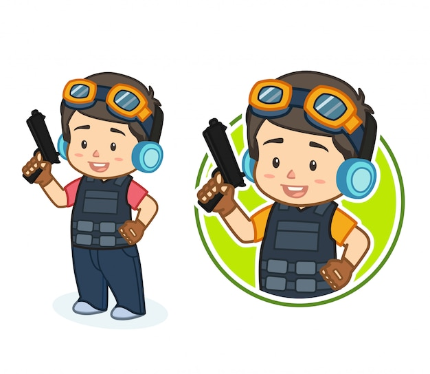 Leuke jongen met pistool