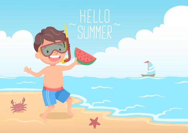 Leuke jongen met snorkel met watermeloen hallo zomer