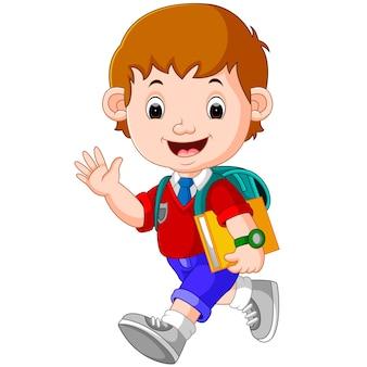 Leuke jongen op weg naar school