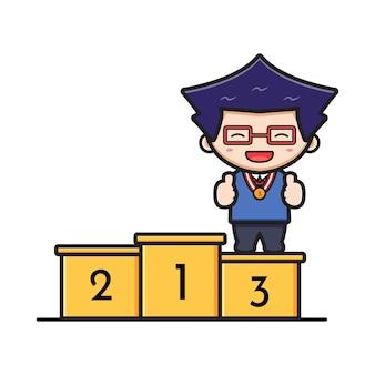 Leuke jongen student permanent op podium rang drie cartoon pictogram vectorillustratie. ontwerp geïsoleerd op witte platte cartoon stijl.