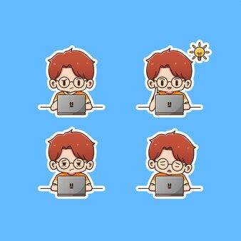 Leuke jongen studeren op laptop pictogram illustation