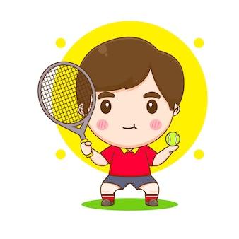 Leuke jongen tennisbal speler karakter illustratie