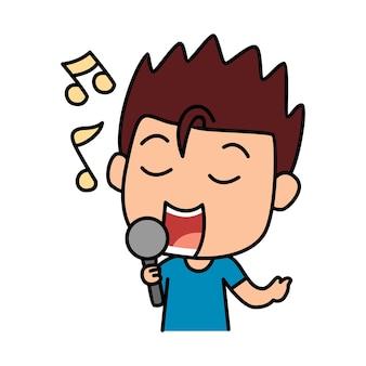 Leuke jongen zingende cartoonillustratie