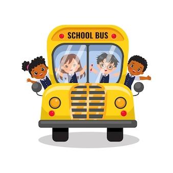 Leuke jongens en meisjes rijden schoolbus terug naar school concept platte vector cartoon design