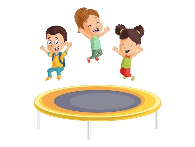 Leuke jongens en meisjes spelen op de trampoline terug naar schoolillustratie