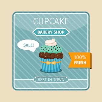 Leuke kaart blauwe cupcake met chocolade