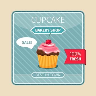 Leuke kaart bruine cupcake met kers