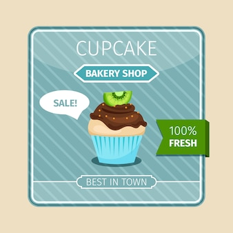 Leuke kaart bruine cupcake met kiwi