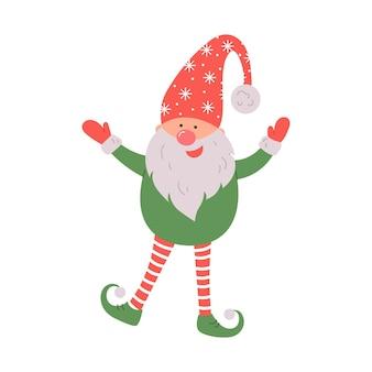 Leuke kabouter in kerstmuts op witte achtergrond scandinavische kerstelve vectorillustratie