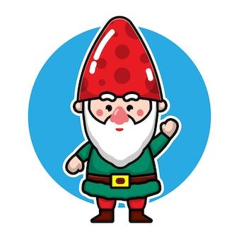 Leuke kabouters cartoon karakter kerst concept illustratie