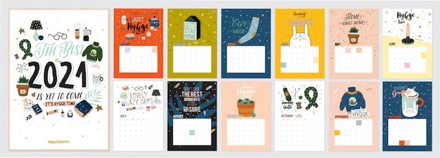 Leuke kalender. jaarlijkse planner kalender met alle maanden. goede organisator en schema. heldere kleurrijke illustratie met motiverende citaten.