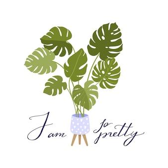 Leuke kamerplant groeit in pot met creatieve typografie.