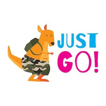 Leuke kangoeroe met slogan voor kinder t-shirt design Premium Vector
