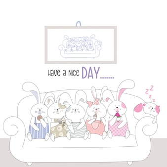 Leuke karakter dierlijke cartoon schets stijl