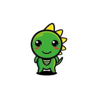Leuke karakter dino mascotte illustratie draak doodle