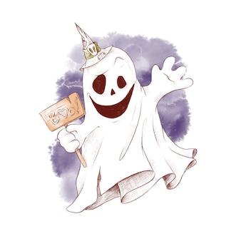 Leuke karakter ghost aquarel illustratie voor halloween