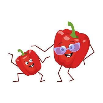 Leuke karakter grappige oma en kleinzoon paprika geïsoleerd op een witte achtergrond. de grappige of droevige held, heldere groenten en fruit met een bril. platte vectorillustratie