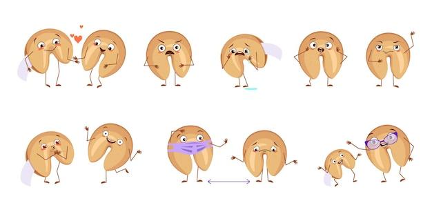 Leuke karakters chinese gelukskoekjes met emoties gezichten handen en voeten blije of droevige karakters b ...