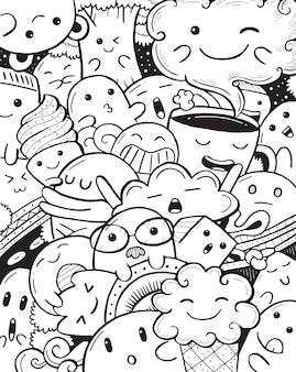 Leuke karakters doodle in cartoon-stijl