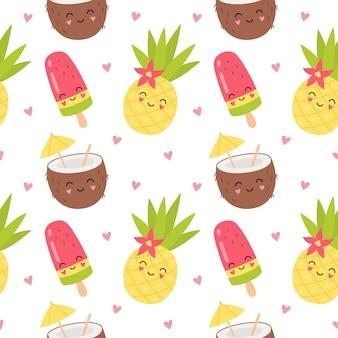 Leuke karakters kokos cocktail, ananas, fruit ijs. zomer cartoon naadloze patroon