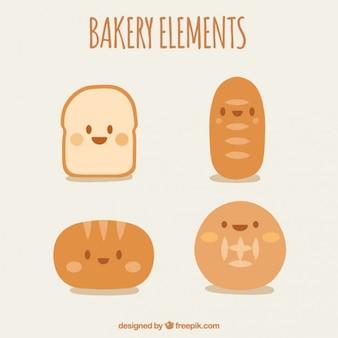 Leuke karakters van bakkerijproducten